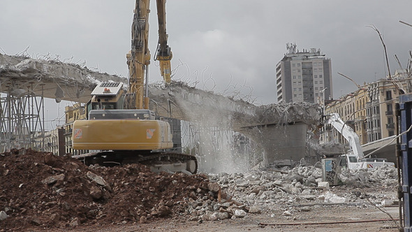 Bulldozer Demolishing Bridges 2
