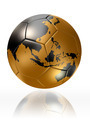 gold soccer ball globe world map australia asia - PhotoDune Item for Sale