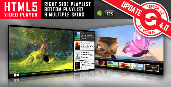 HTML5 Video Player with Playlist & Multiple Skins - CodeCanyon Item for Sale