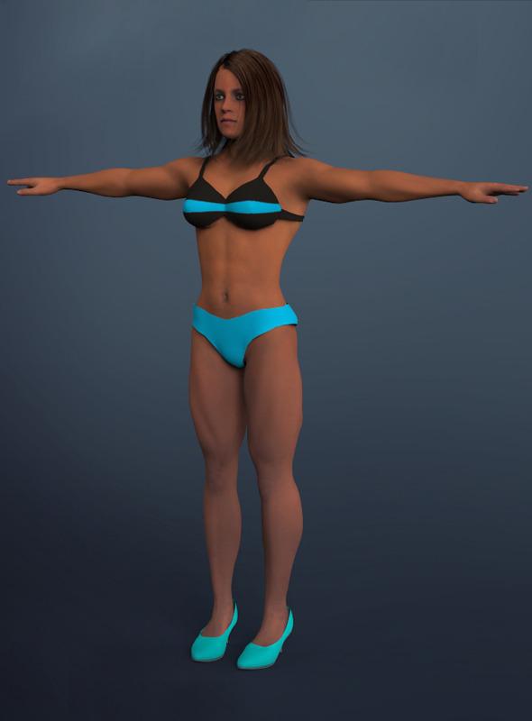 muscular woman - 3DOcean Item for Sale