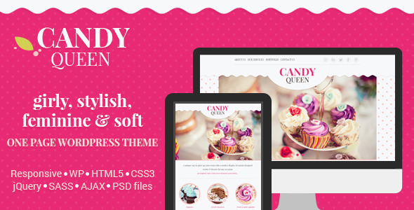 Candy Queen - Responsive One Page Theme - Creative WordPress