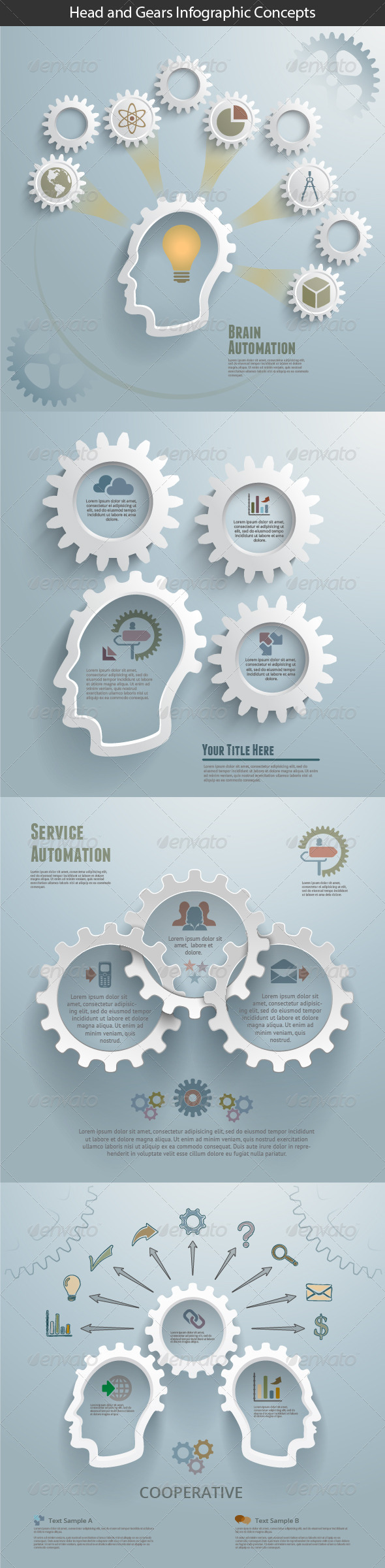 GraphicRiver Head and Gears Infographic Concepts 7351027