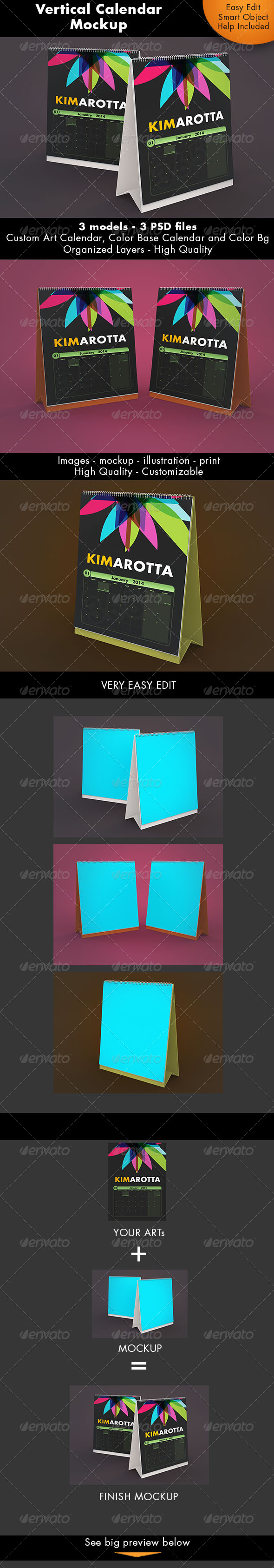 Vertical Calendar Desk Mockup - Miscellaneous Print