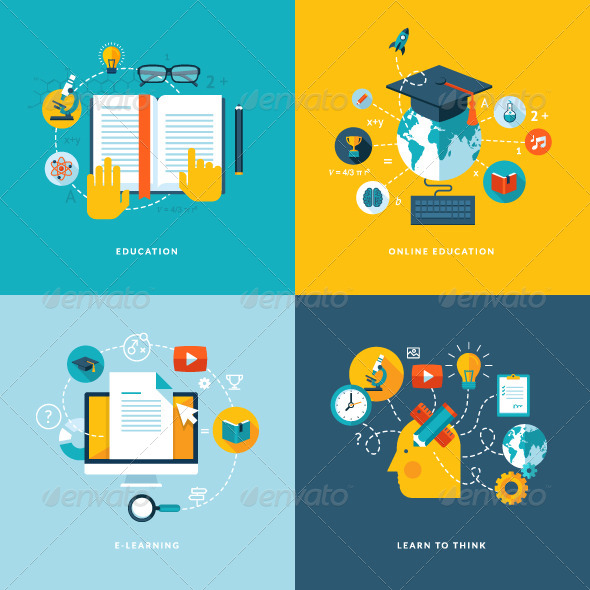 Flat Design Concept Icons for Education