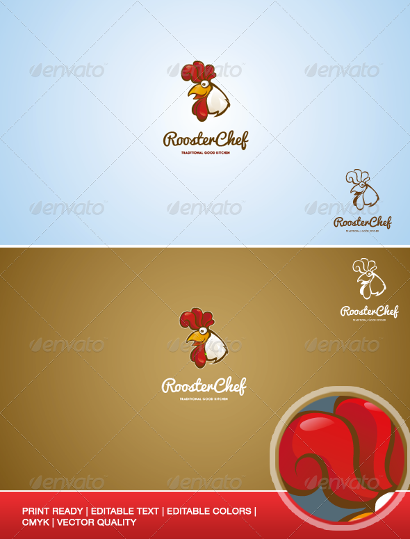 Rooster Chef Logo Illustration Template