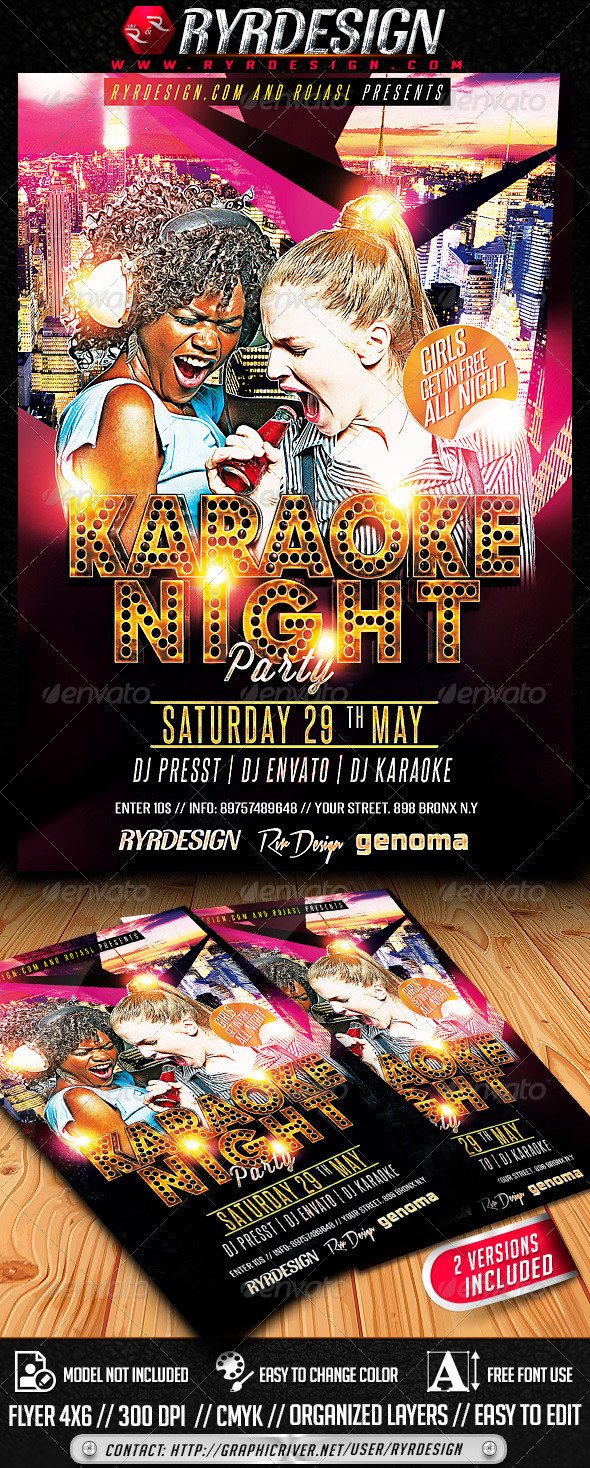 Karaoke Night Party PSD - Events Flyers