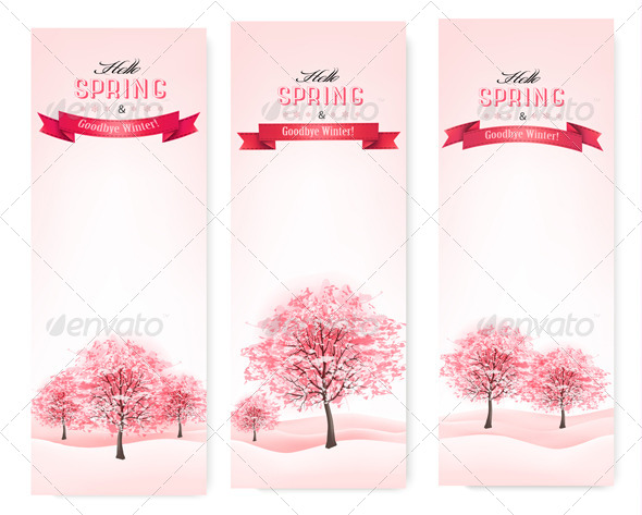 Three Spring Banners with Blossoming Sakura Trees