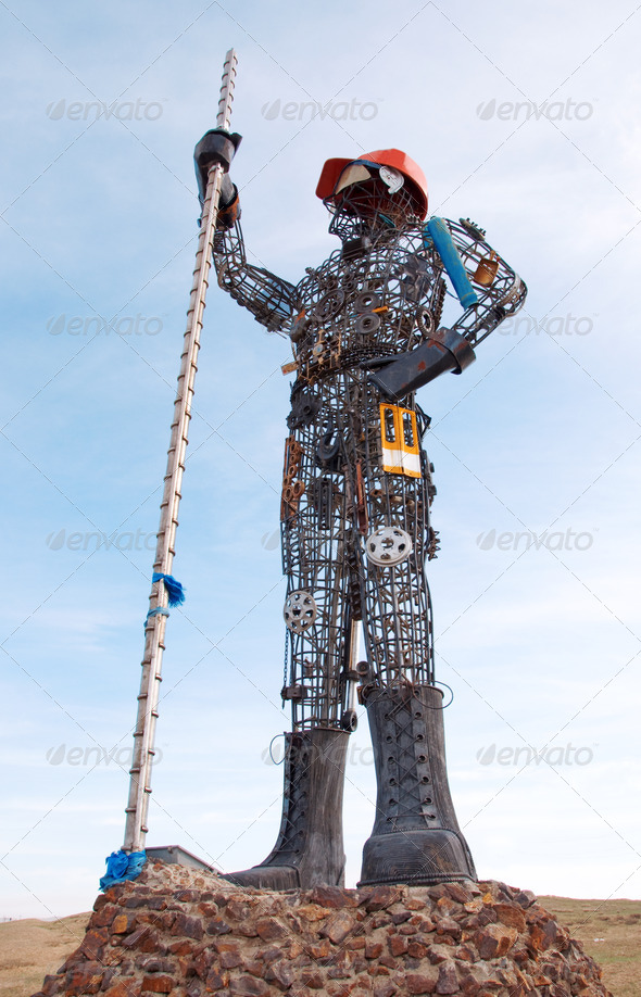 Statue Of Worker, Made From Scrap Metal. - Stock Photo - Images