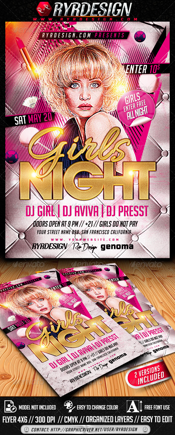 Girls Night Party Flyer PSD - Clubs & Parties Events
