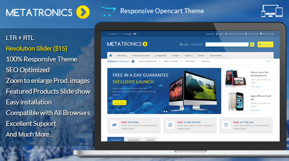 If you like our themes, please don't forget to rate it. This helps us a lot Template ID : OPC070165 Meta Tronics Opencart Theme is specially designed for