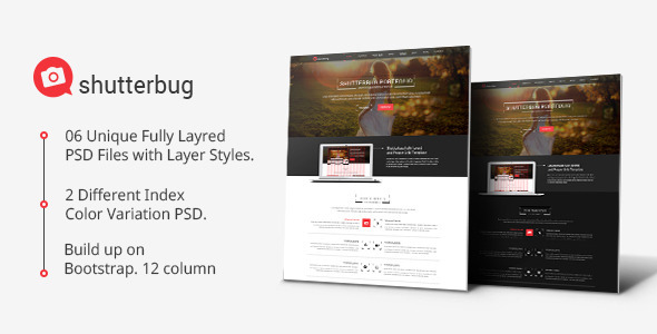 Shutterbug One page Multipurpose PSD Template - Creative PSD Templates