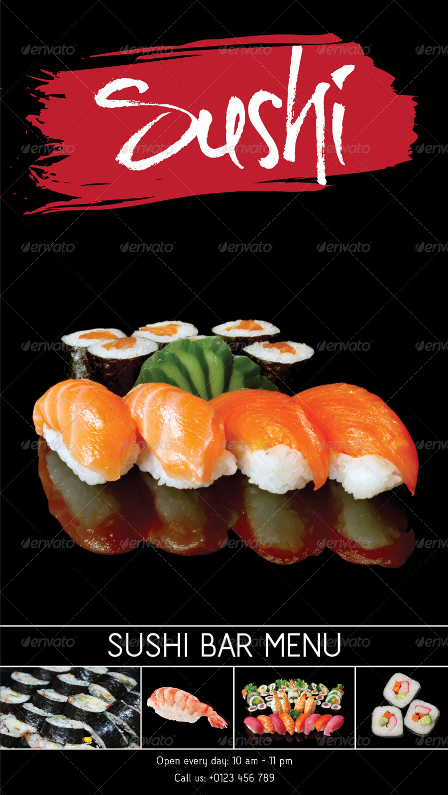 sushi bar menu template by kukidizajn graphicriver. Black Bedroom Furniture Sets. Home Design Ideas
