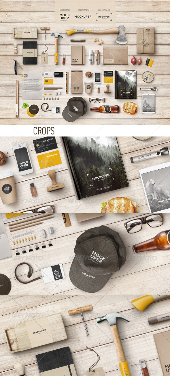 Brutal Wood Branding Mock-Up (PSD) - Product Mock-Ups Graphics