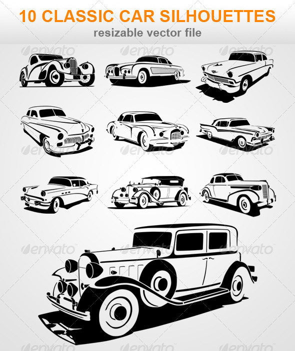10 Classic Car Silhouettes