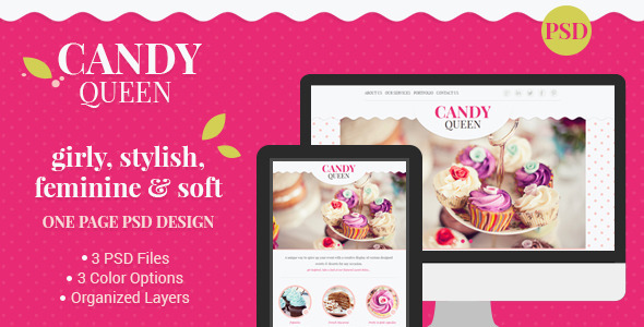 Candy Queen – Beautiful, Clean One Page Portfolio Whether you're looking for a design for your candy boutique, florist design studio, beauty salon,