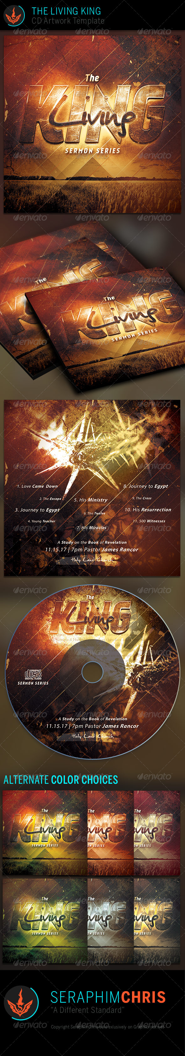 The Living King: CD Artwork Template - CD & DVD artwork Print Templates