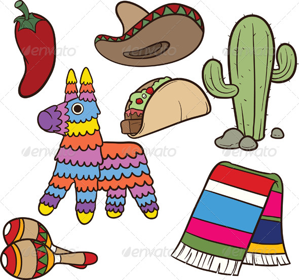 Cartoon Mexican items Vector clip art illustration  Each element on a    Zarape Clipart