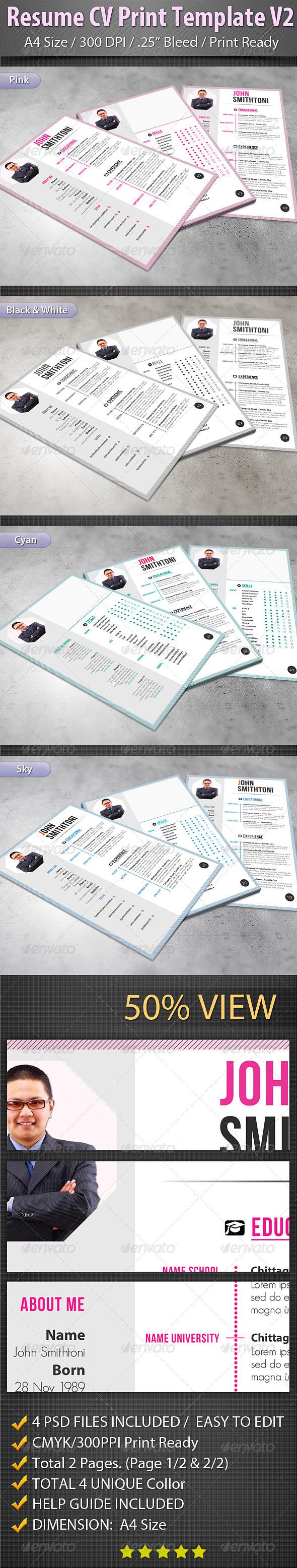 Resume CV Print Template V2