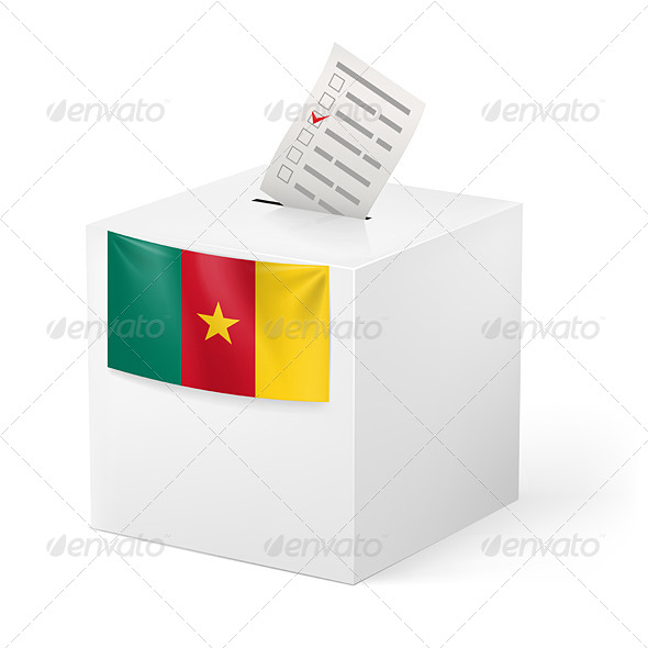 Ballot Box with Voting Paper Cameroon