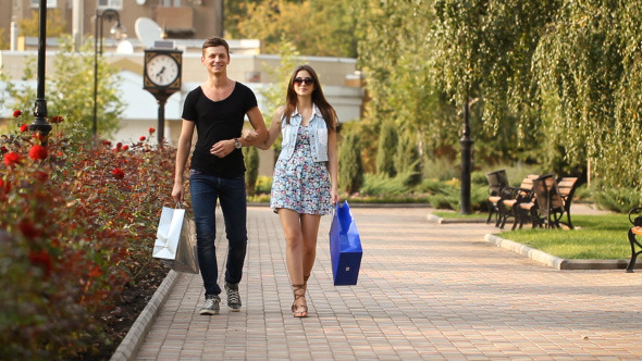 Man And Woman After Shopping