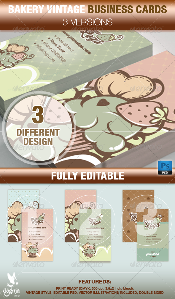 Template Wordpress Cake Design : Cupcake and Cake Design Business Card Templates GraphicRiver