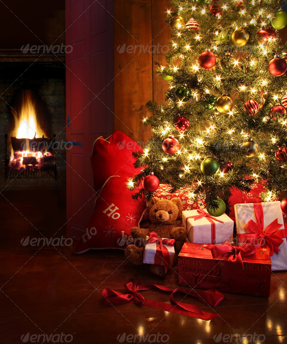 PhotoDune Christmas scene with tree and fire in background 768594