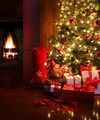Christmas scene with tree and fire in background - PhotoDune Item for Sale