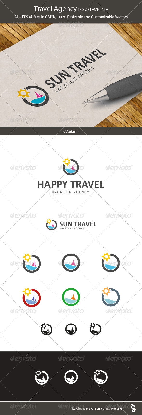 Travel Agency Logo Template - Vector Abstract