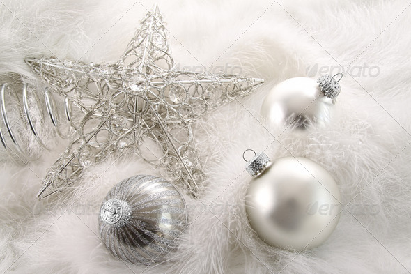 Silver holiday ornaments in feathers - Stock Photo - Images
