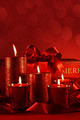 Christmas candles on a red background - PhotoDune Item for Sale