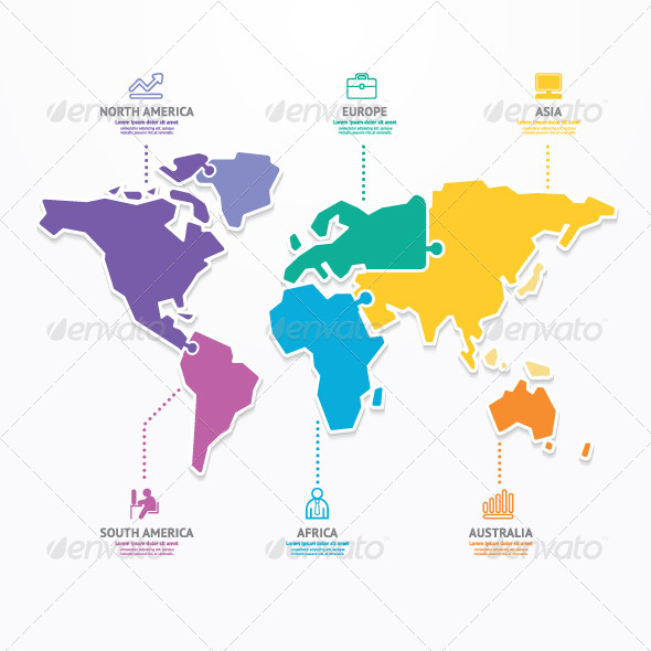 GraphicRiver World Map Infographic Template Jigsaw Concept 7392502