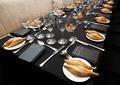 Restaurant interior deatil. Table.