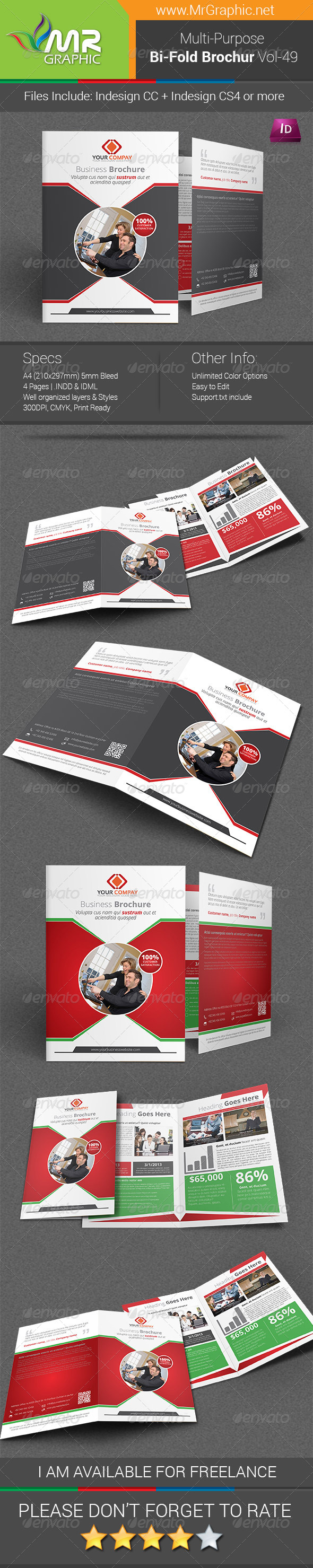 Multi-purpose Bi-fold Brochure Template Vol-49