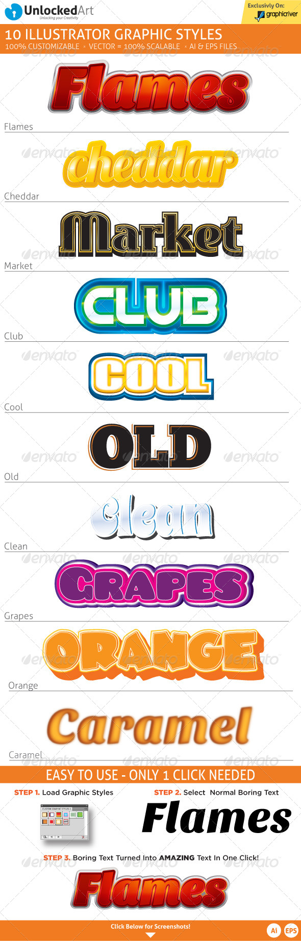 Custom Graphic Styles 2 - Styles Illustrator