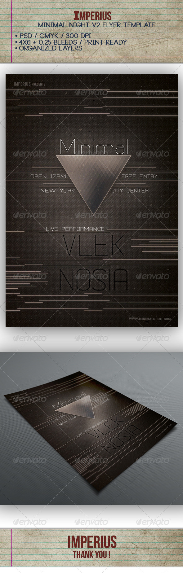 Minimal Night V2 - Flyers Print Templates