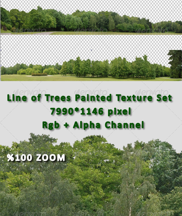 Line of Tree Painted Hi-Res Texture Set - 3DOcean Item for Sale