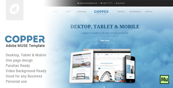 Copper - Creative Adobe Muse Template