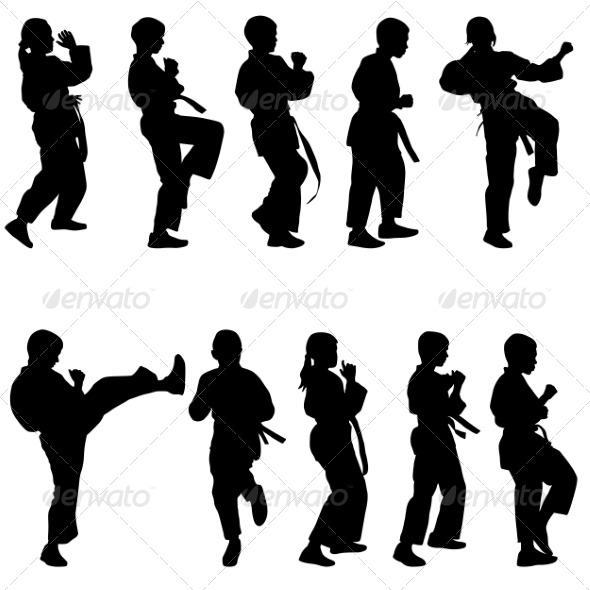 Set of Black Silhouettes of Karate Sport vectors