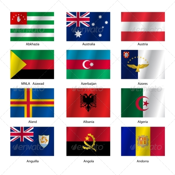 Set Flags of World Sovereign States - Vector Illustration