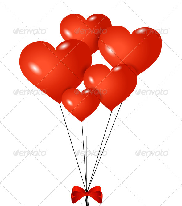 Red heart shaped balloons with ribbon valentines seasons - How to make heart balloon ...