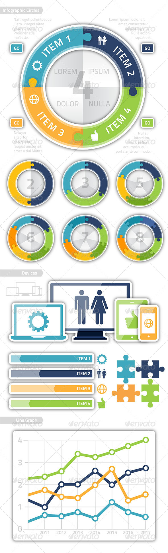 GraphicRiver Modern Puzzle Technology Circle Chart Infographics 7400307
