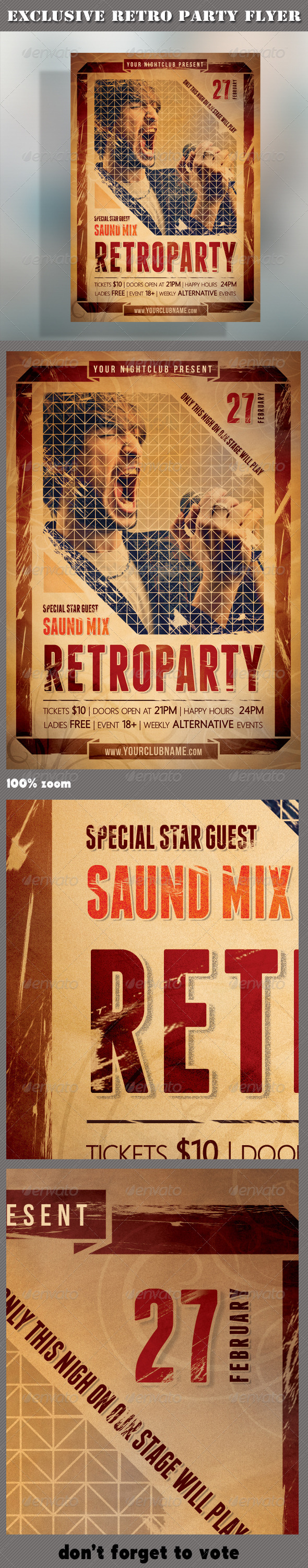 Retro Party Flyer 01 - Clubs & Parties Events