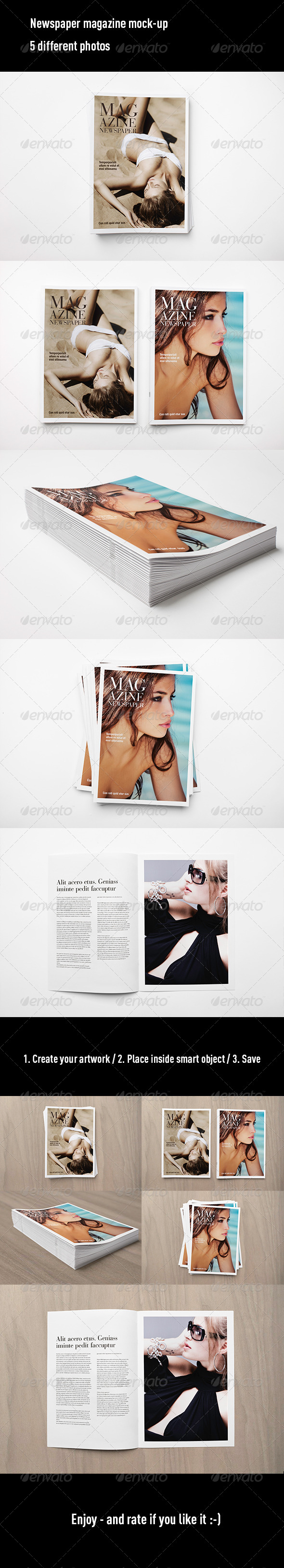 GraphicRiver Newspaper Magazine Mock Up 7401941