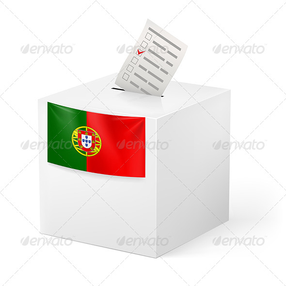 Ballot Box with Voting Paper Portugal