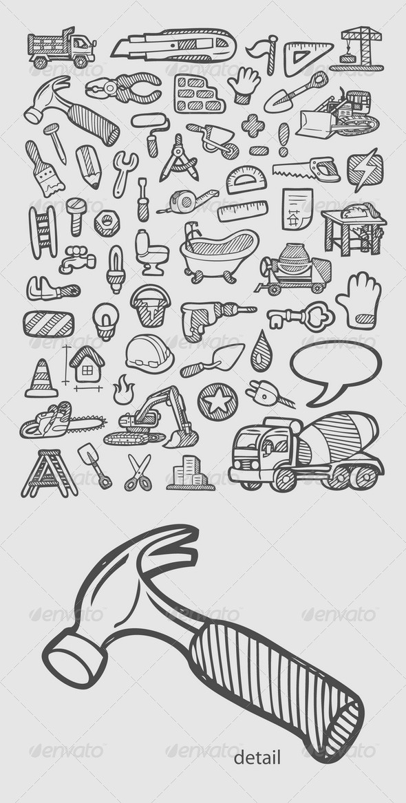 Construction Icons Sketch - Industries Business