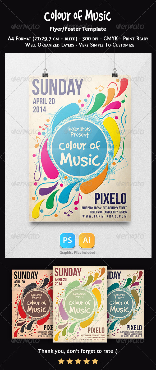 Colour of Music Flyer Template - Concerts Events