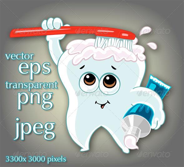 Cartoon Tooth - Characters Vectors
