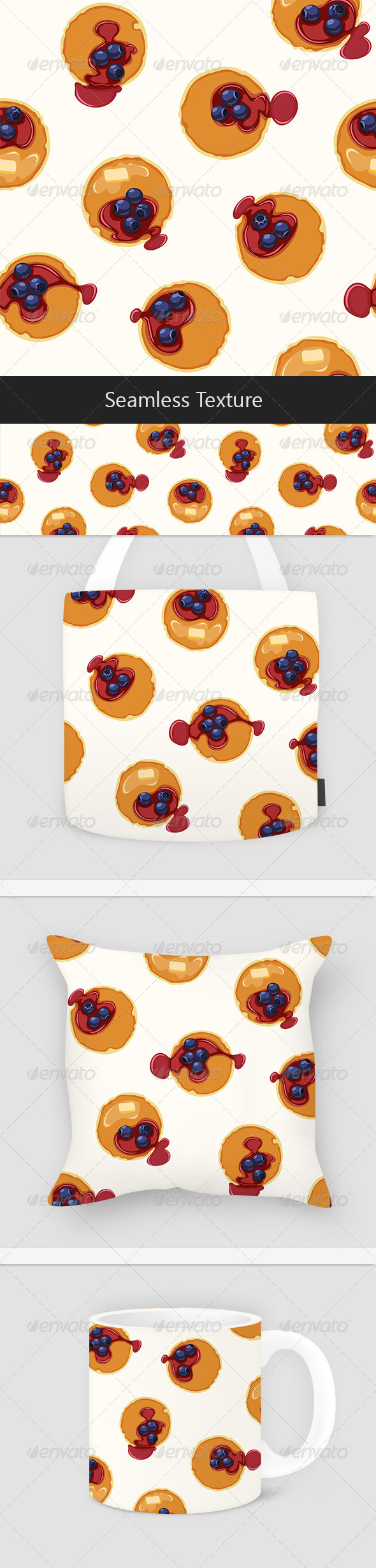 Breakfast With Pancakes and Blueberries Seamless Vector