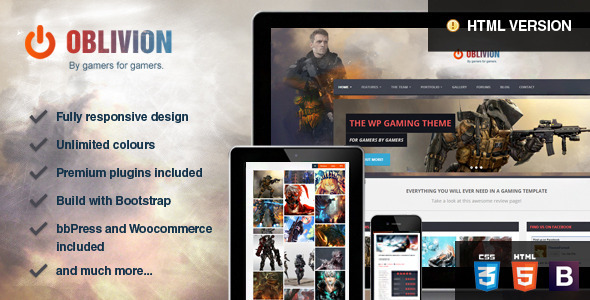 ThemeForest Oblivion The Multi-Purpose Gaming Template 7414283