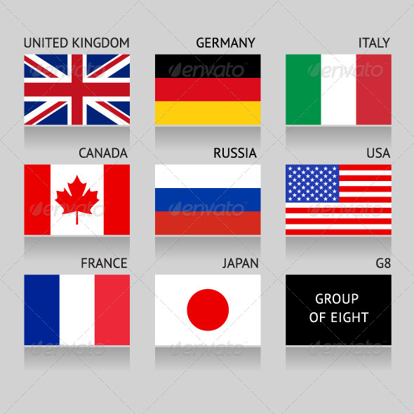 Set of Flags Countries Members of the G8 group